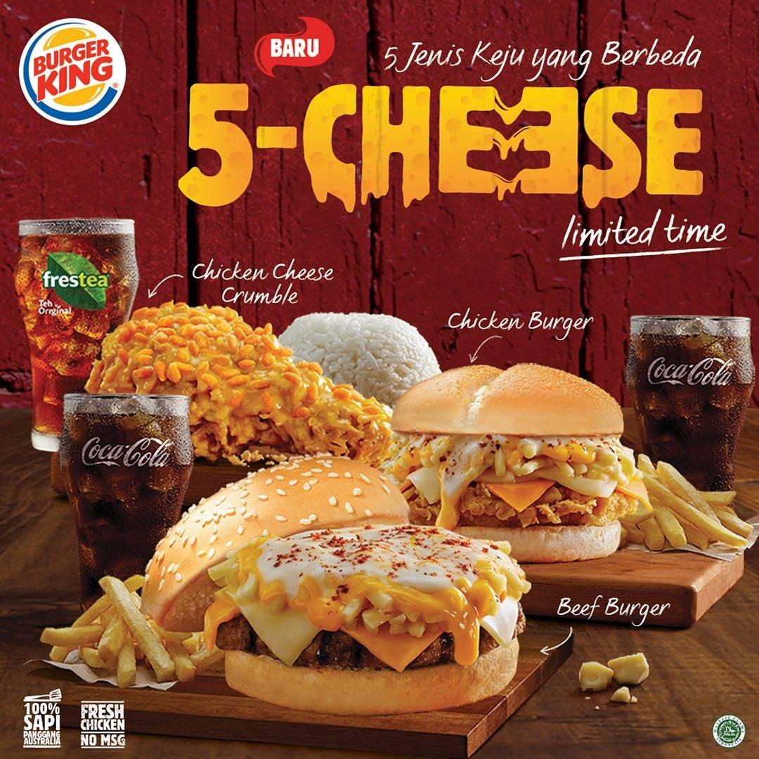 Diskon  Promo Burger King Menu Baru 5 Different Cheese In 1 Burger