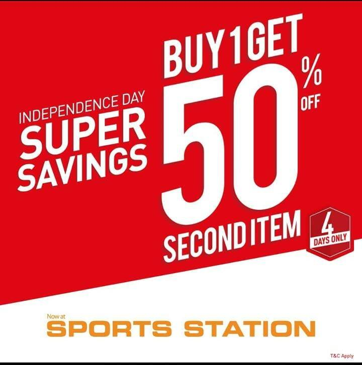 Diskon Promo Sports Station Independence Day Super Saving Day - Buy 1 Get 50% Off For Second item