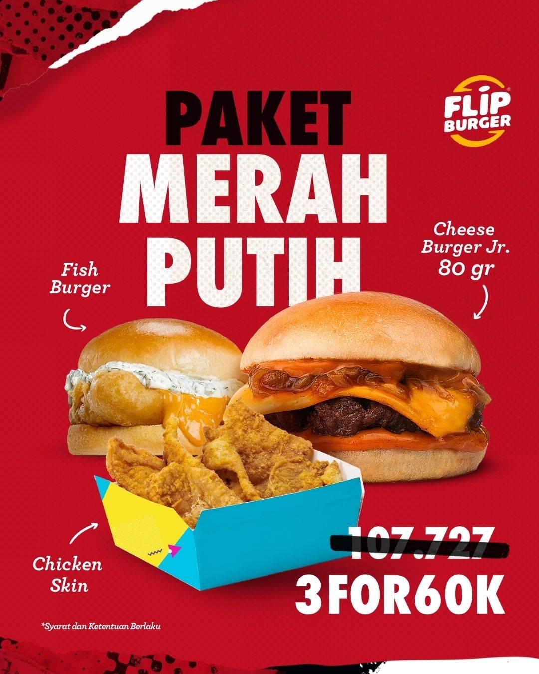 Diskon Flip Burger Paket Merah Putih 3 for 60k Aja!!
