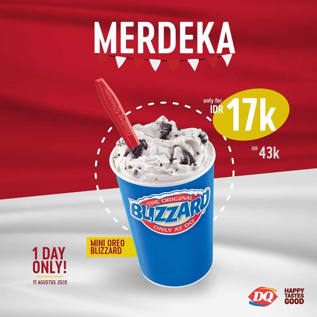 Diskon Dairy Queen Promo Merdeka! Harga Spesial Mini Oreo Blizzard cuma Rp. 17.000
