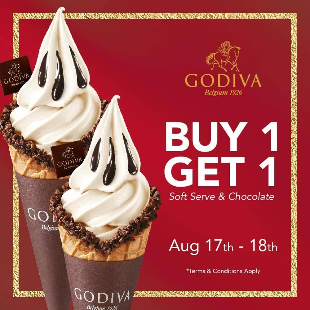Diskon Promo Godiva Belgium Buy 1 Get 1 Free Soft Serve & Chocolate Ice Cream