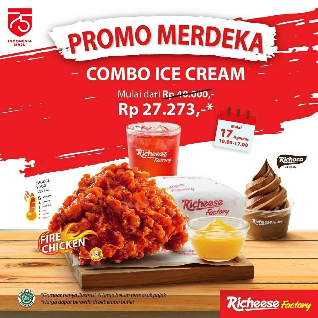 Diskon Promo Merdeka Richeese Factory Paket Combo Ice Cream Hanya Rp. 27.273