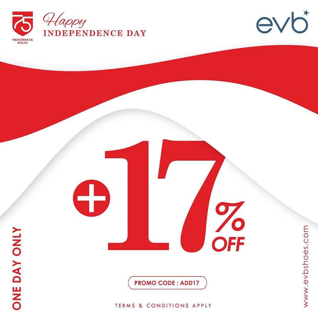 Diskon Promo EVB Independence Day Exclusive Offer Extra 17% Off