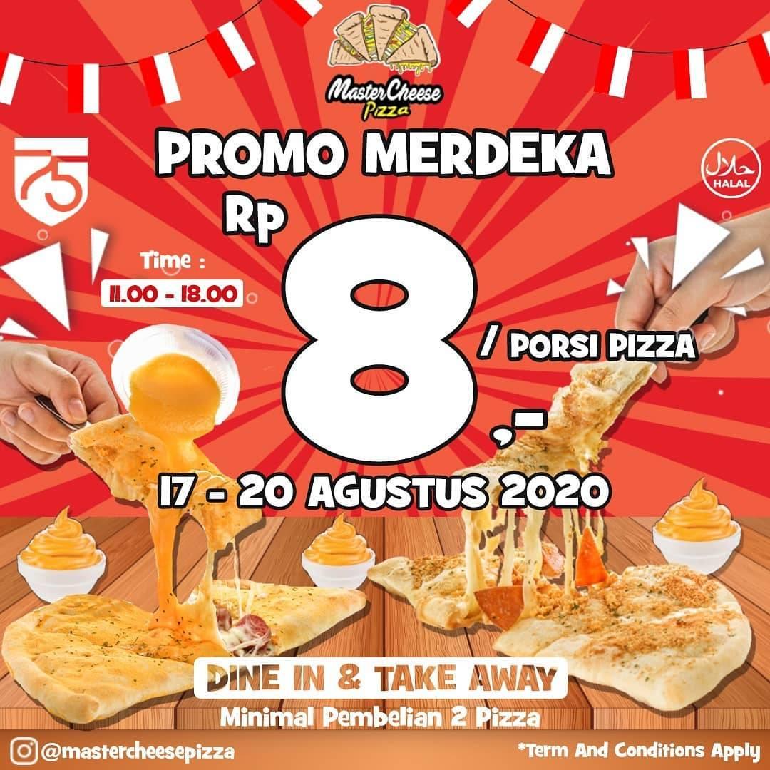 Diskon Promo Merdeka Mastercheese Pizza - Harga Spesial Rp. 8 / Pizza