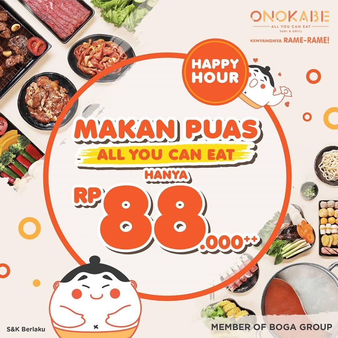 Diskon Onokabe Promo Happy Hour All you can eat cuma Rp. 88.000+