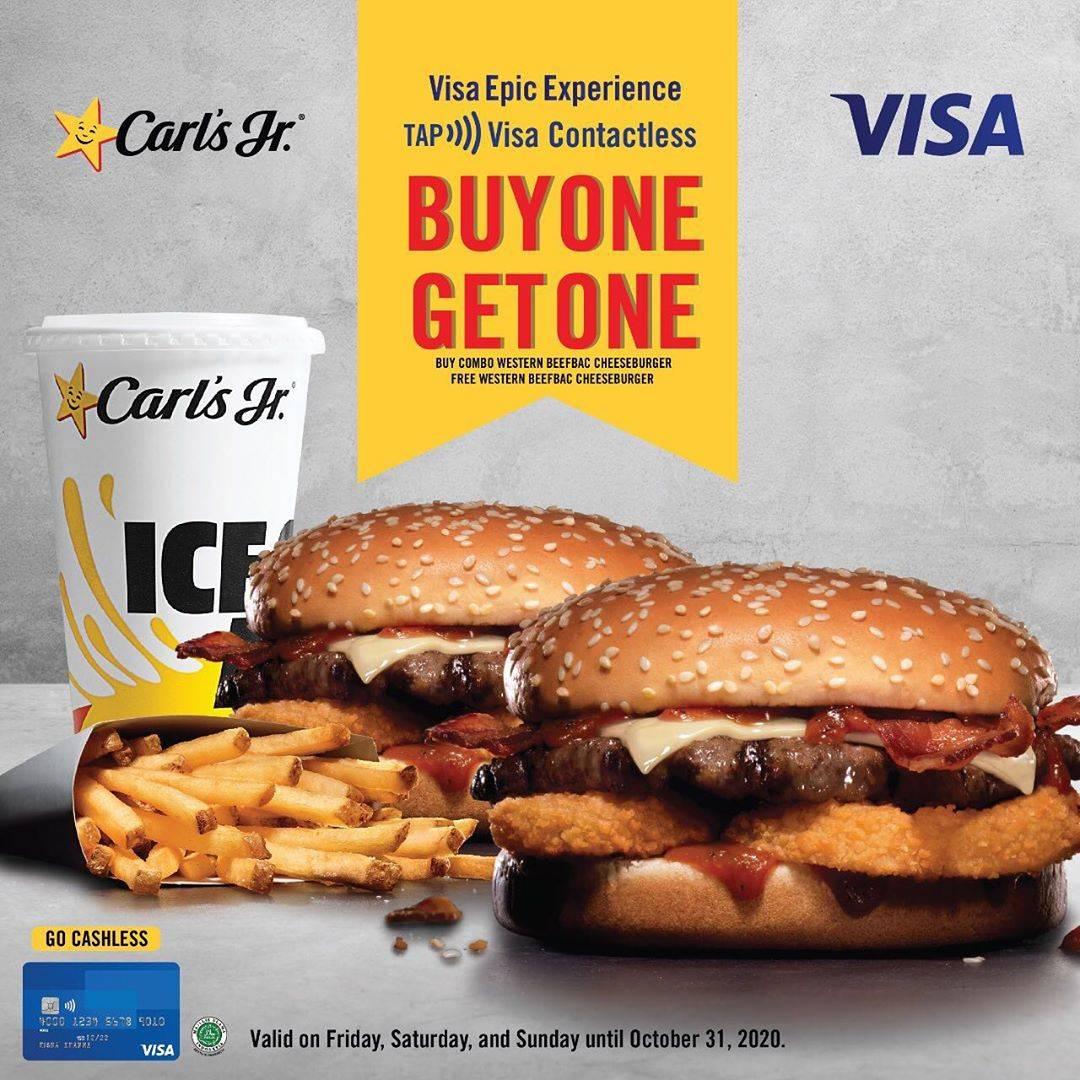Diskon Carls Jr Buy 1 Get 1 Free Cheeseburger For Payments With VISA Card