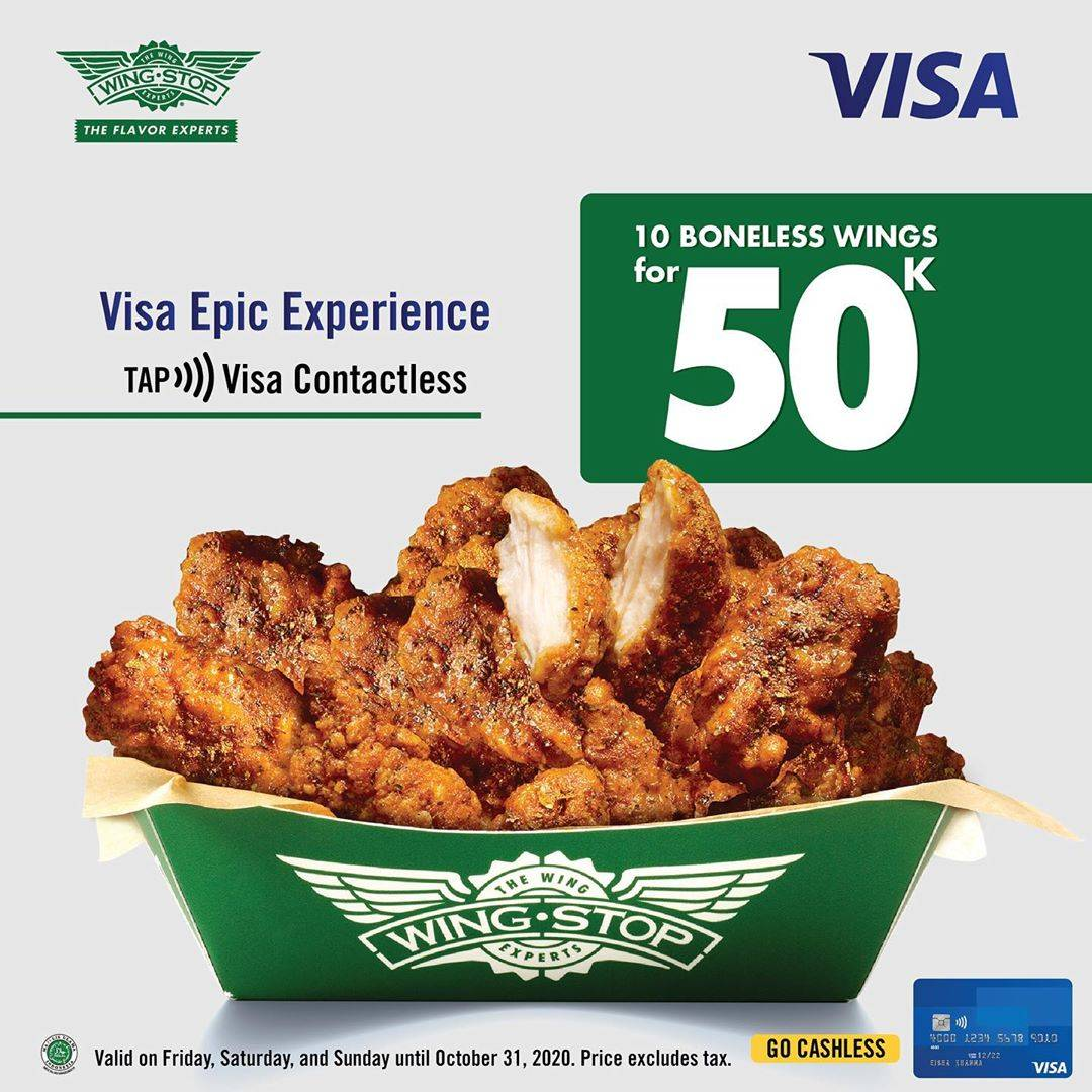 Diskon Wingstop 10 Boneless Wings Only For IDR. 50.000 For Payments With VISA Card