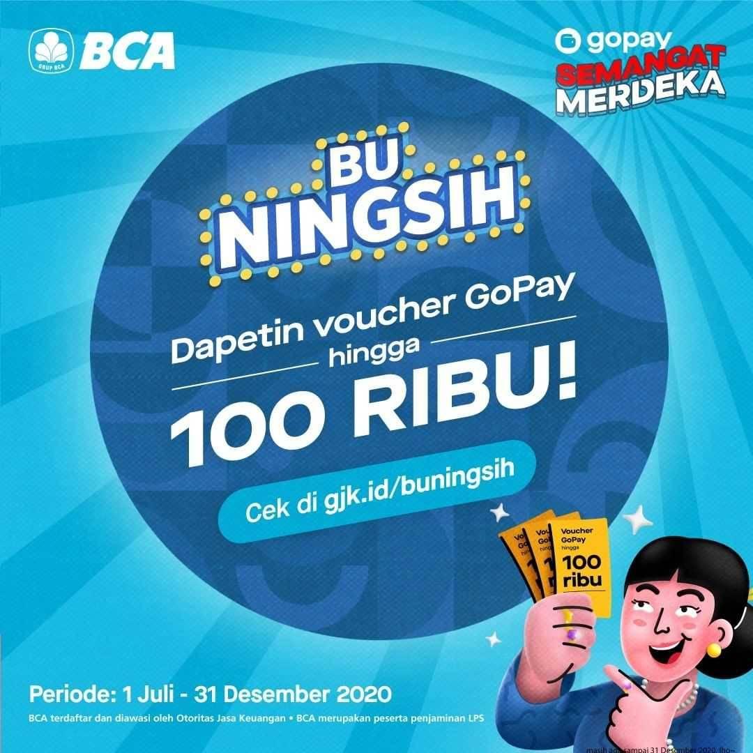 Promo diskon Gopay Gratis Voucher Senilai Rp. 100.000 Setiap Buka Tabungan BCA