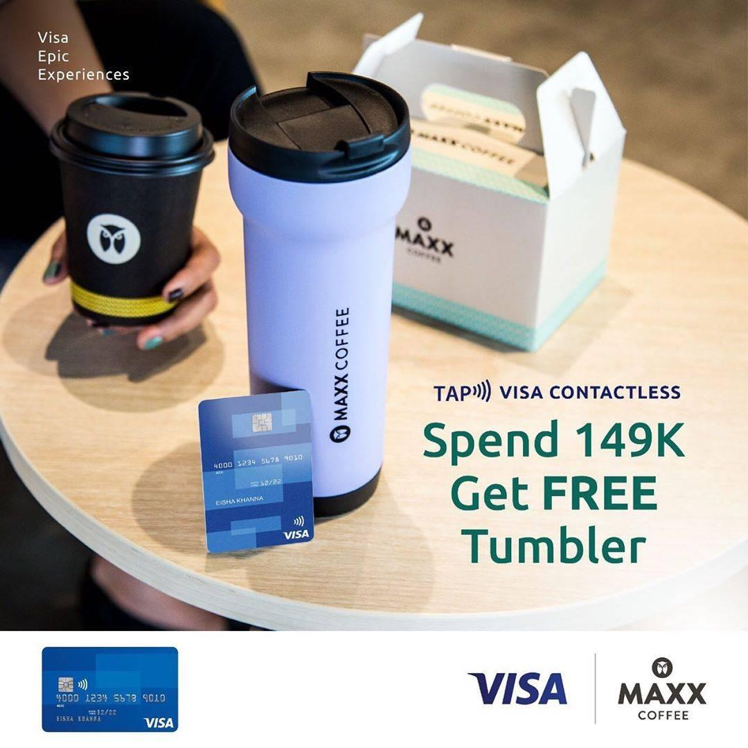 Diskon Promo Maxx Coffee Free Tumblr Untuk Transaksi Menggunakan Kartu Kredit/Kartu Debit Visa