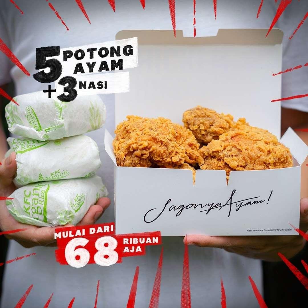 Diskon KFC Promo 5 Potong Ayam + 3 Nasi Harga Mulai Dari Rp. 68 Ribuan