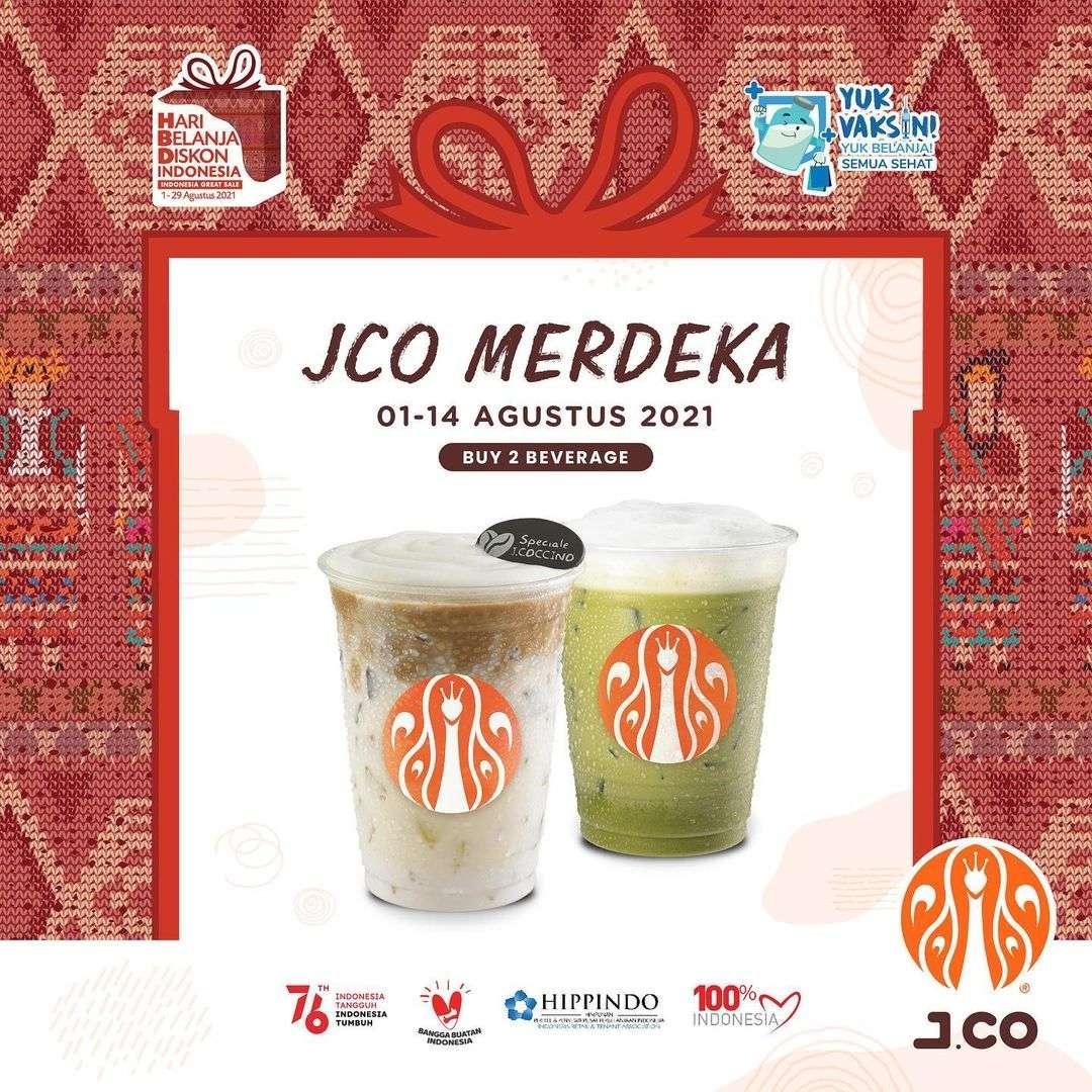 Diskon JCO Promo Merdeka 2 Beverages Only For Rp. 52.000