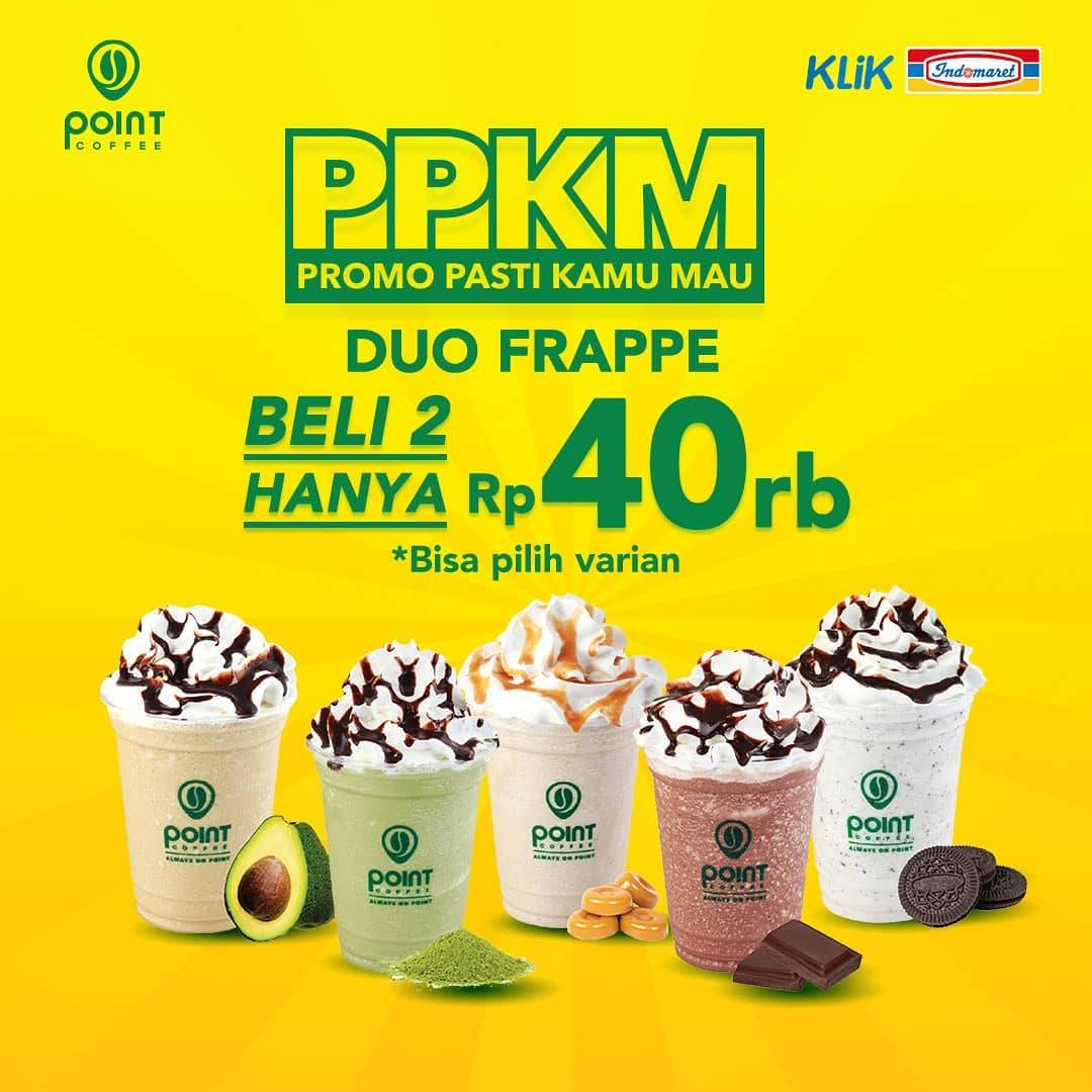 Diskon Point Coffee PPKM Duo Frappe Hanya Rp. 40.000