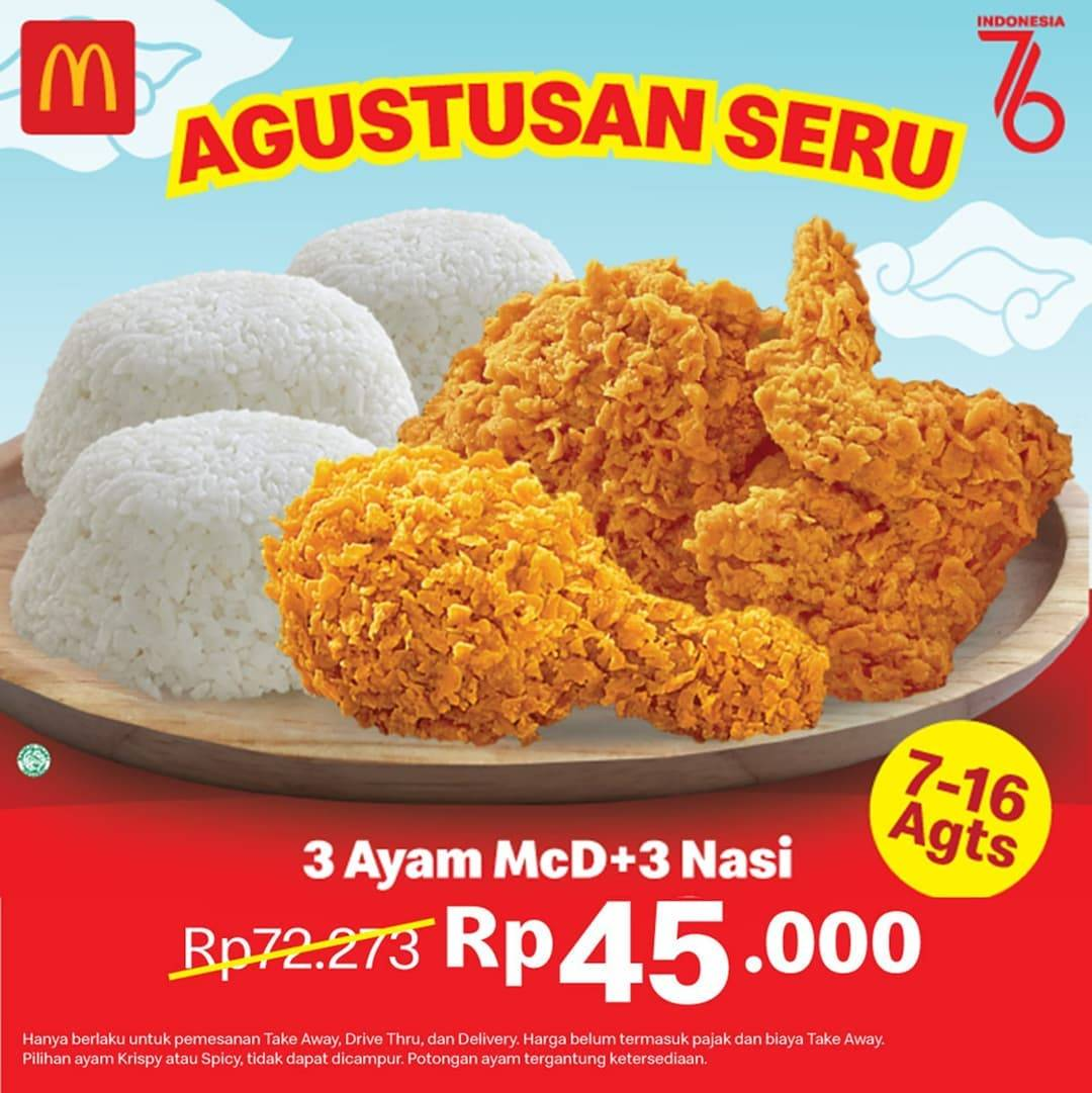 Diskon McDonalds Promo 3 Ayam + 3 Nasi Hanya Rp. 45.000