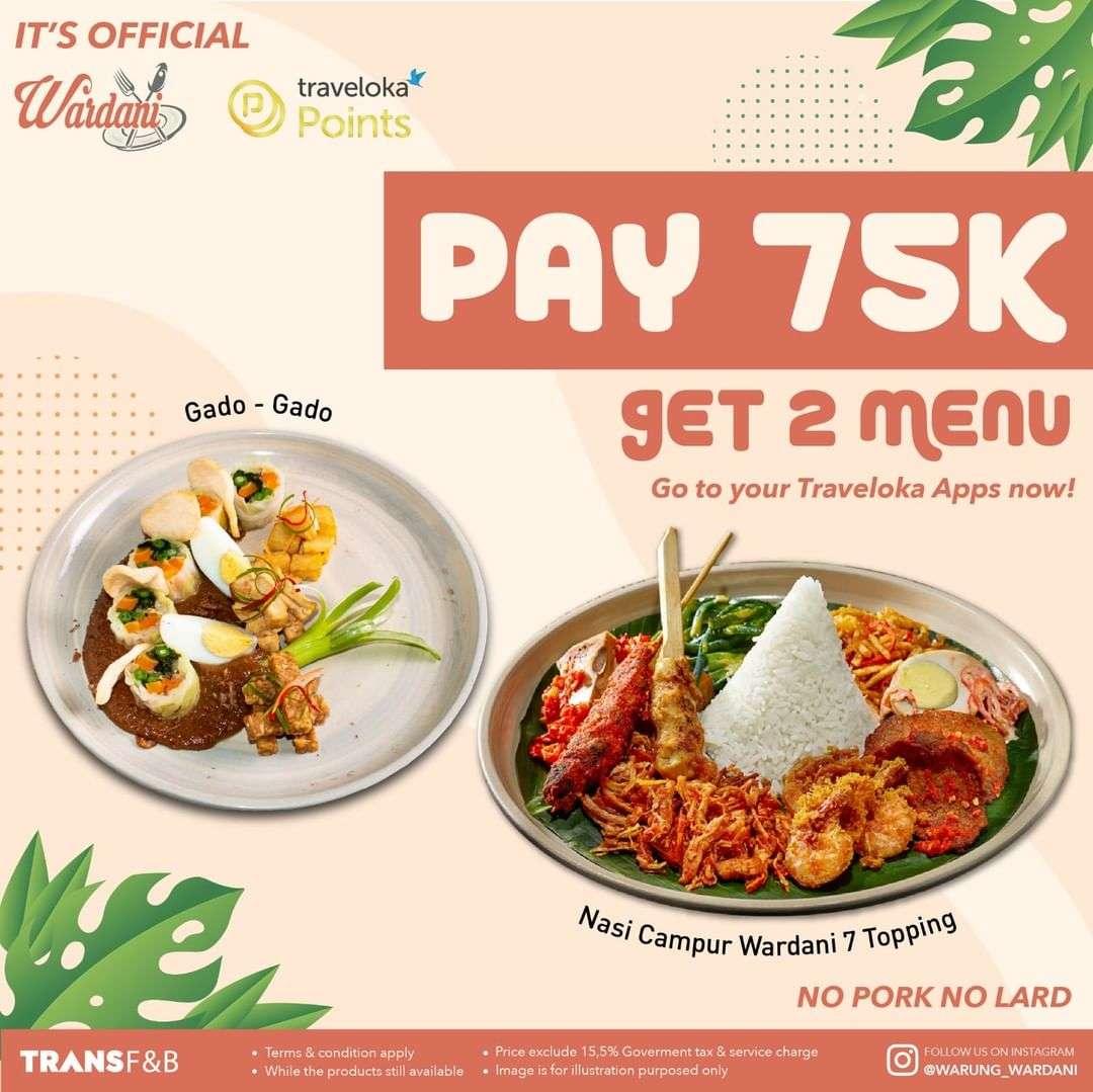 Diskon Warung Wardani Promo Pay Rp. 75.000 Get 2 Menu
