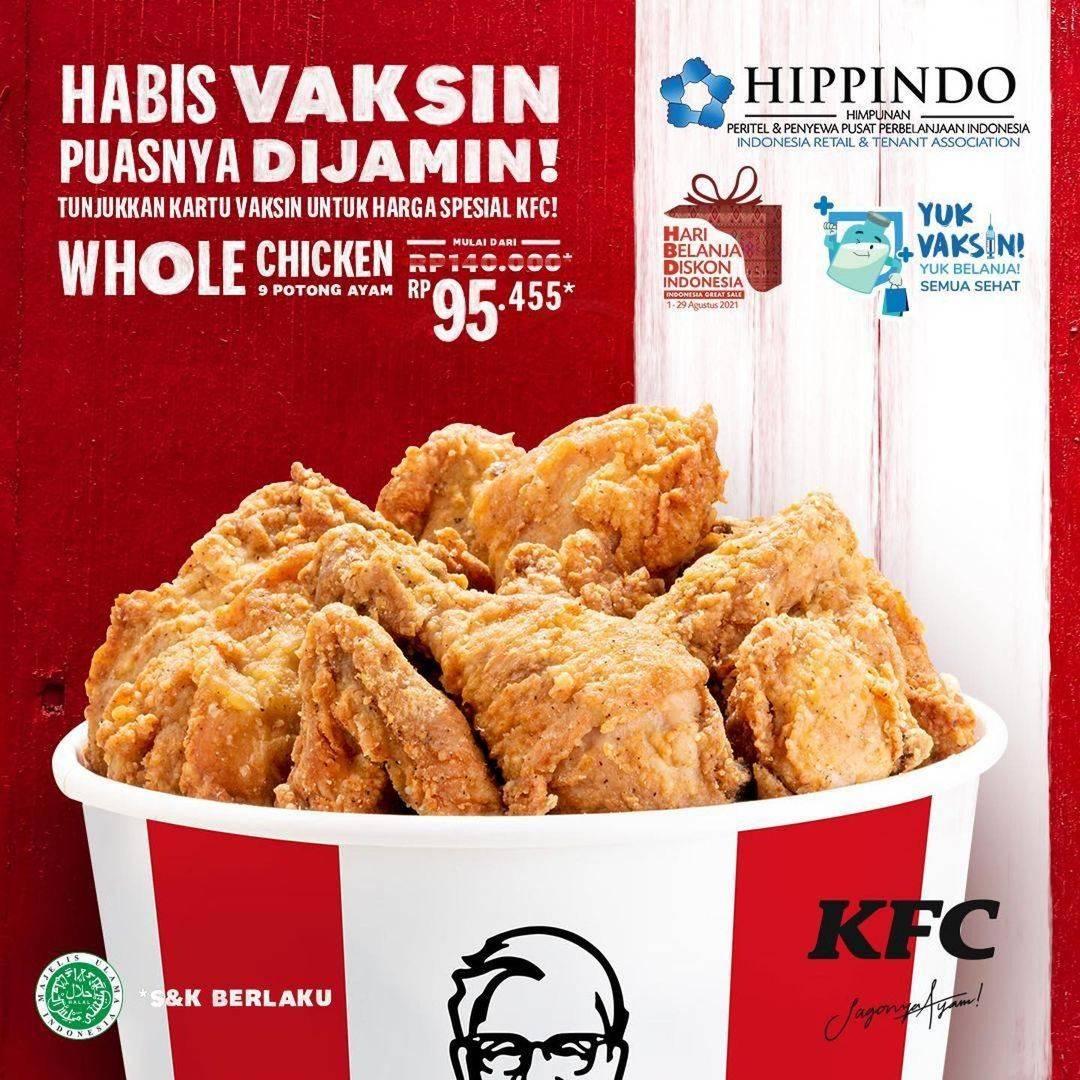 Diskon KFC Promo 9 Potong Ayam Hanya Rp. 95.455 Dengan Menujukkan Bukti Vaksin