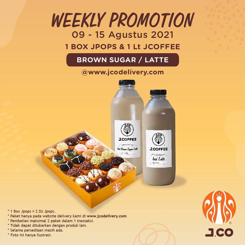 Diskon JCO Weekly Promotion 1 Box JPops  + 1 Lt JCoffee Hanya Rp. 109.000