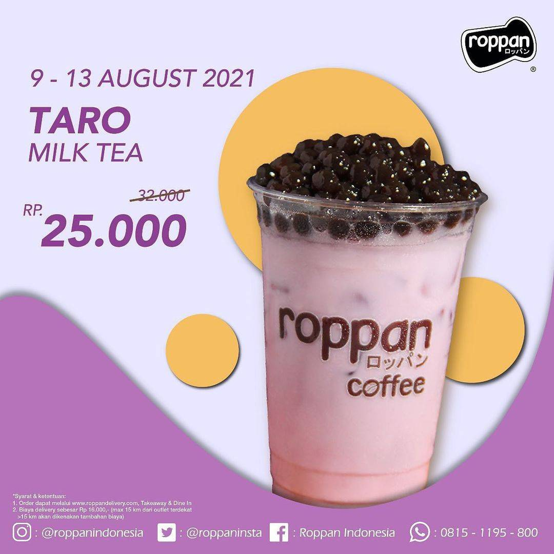 Diskon Roppan Promo Taro Milk Tea Hanya Rp. 25.000