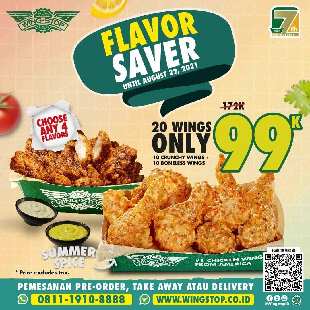 Diskon Wingstop Promo Flavor Saver 20 Wings Only Rp. 99.00