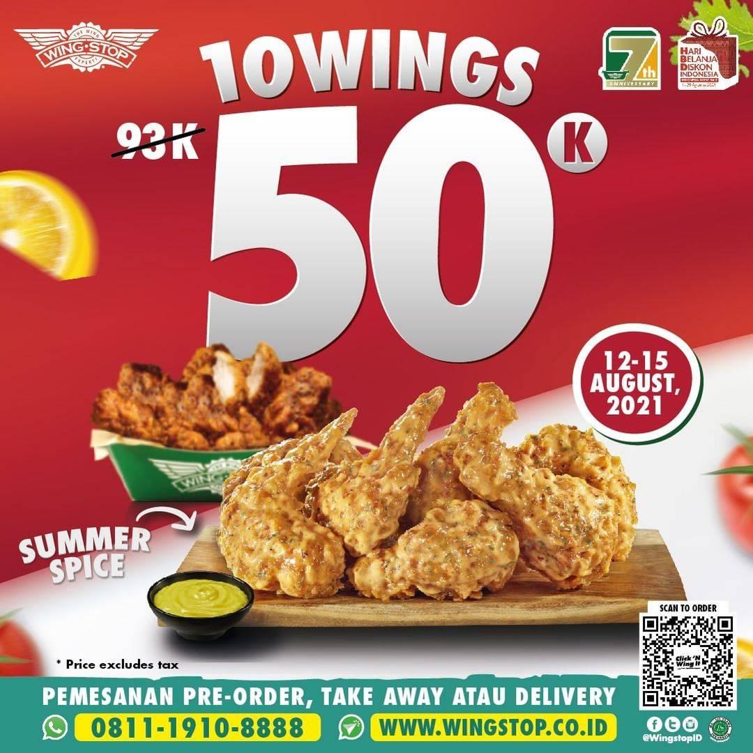 Diskon Wingstop Promo 10 Wings Hanya Rp. 50.000