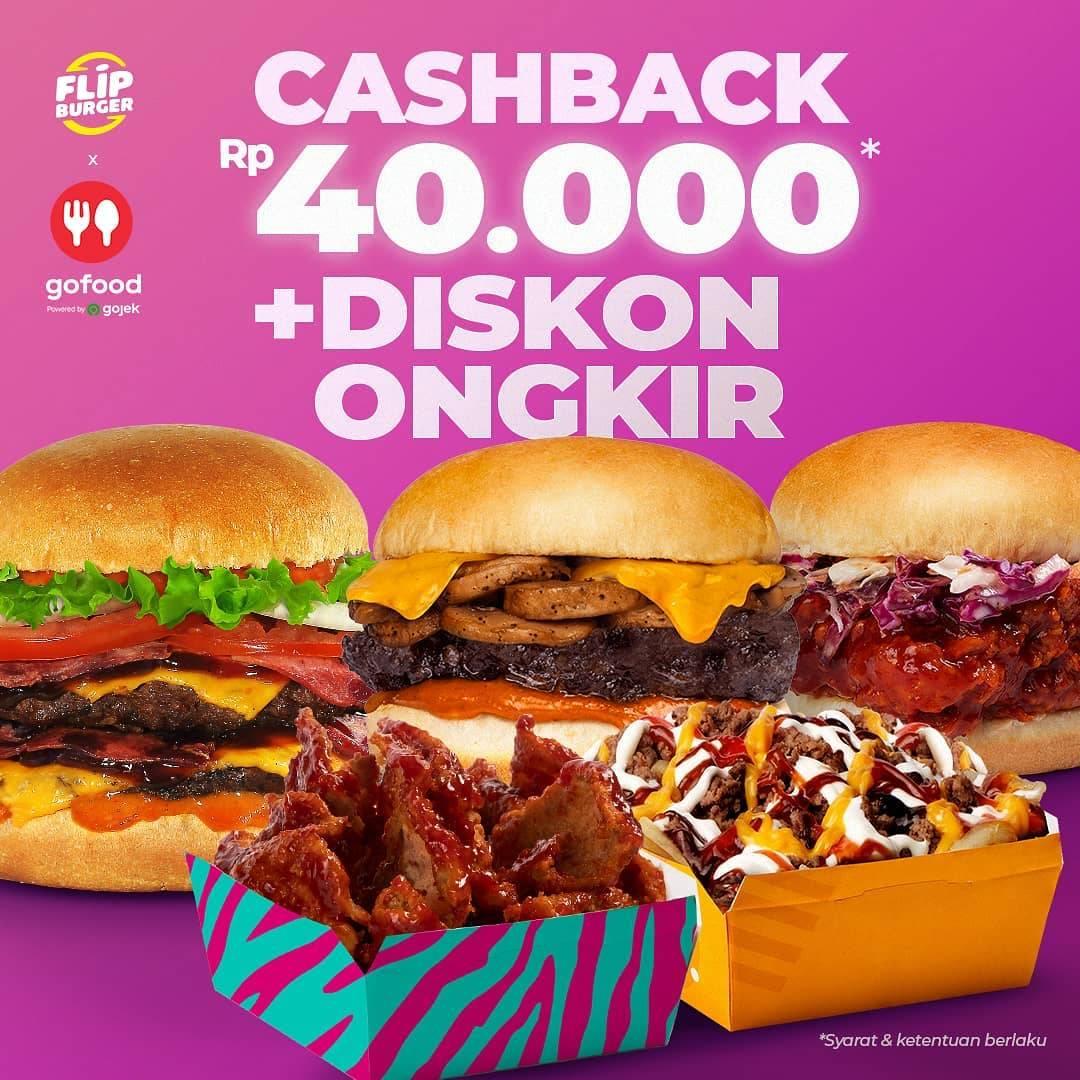 Diskon Flip Burger Cashback Rp. 40.000 + Diskon Ongkir Dengan GoFood