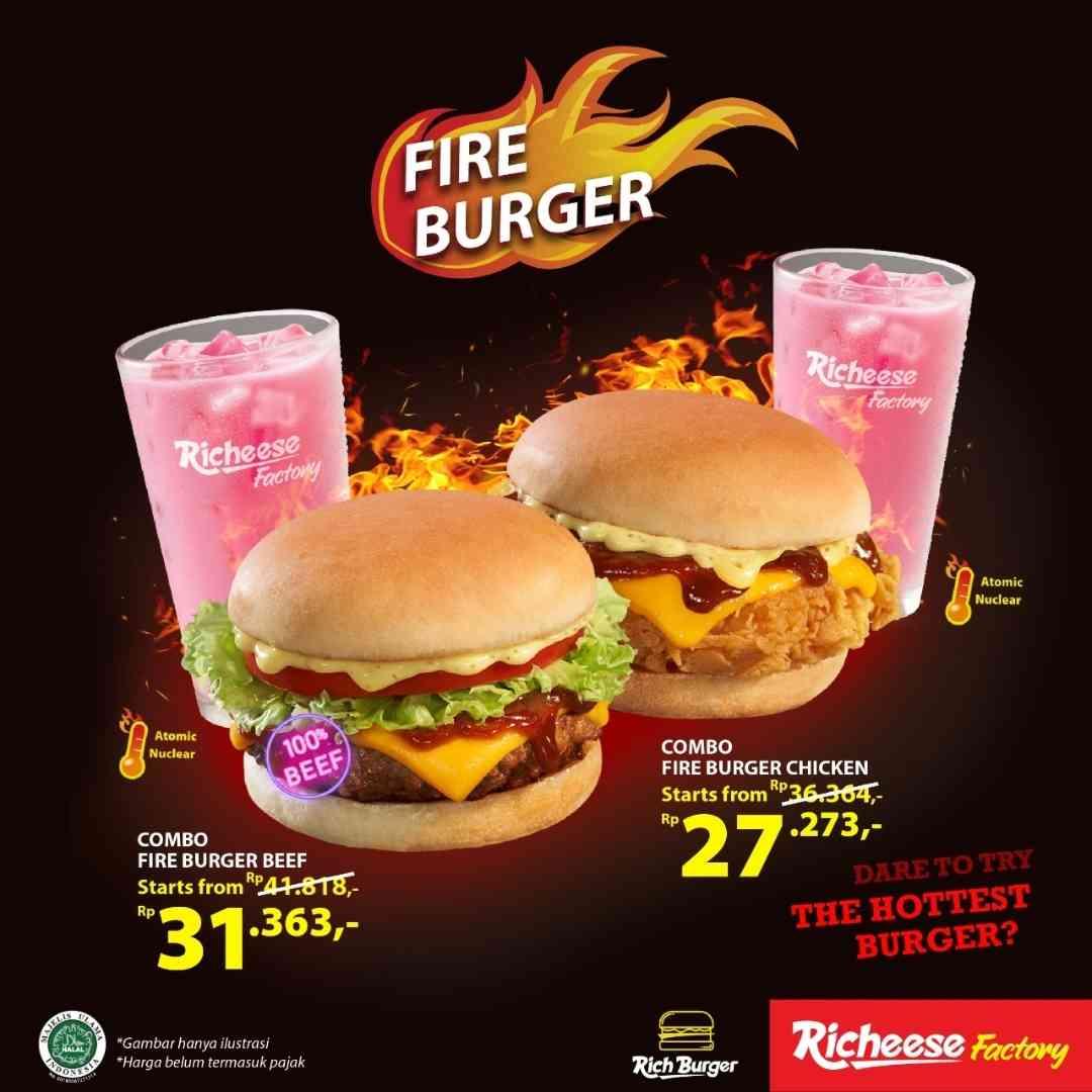Diskon Richeese Factory Promo Fire Burger Mulai Dari Rp. 27Ribuan