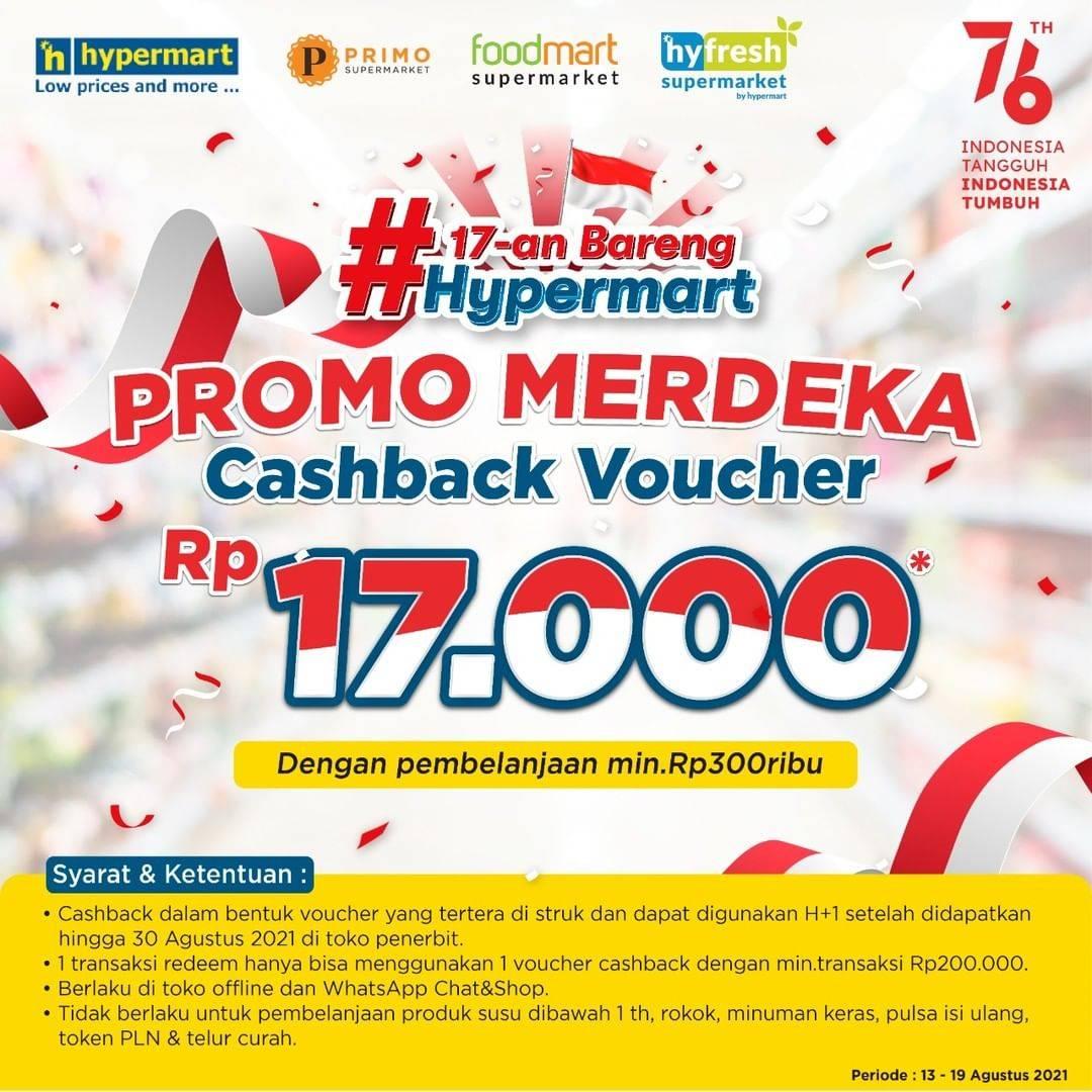 Diskon Hypermart Promo Merdeka Cashback Voucher Rp. 17.000