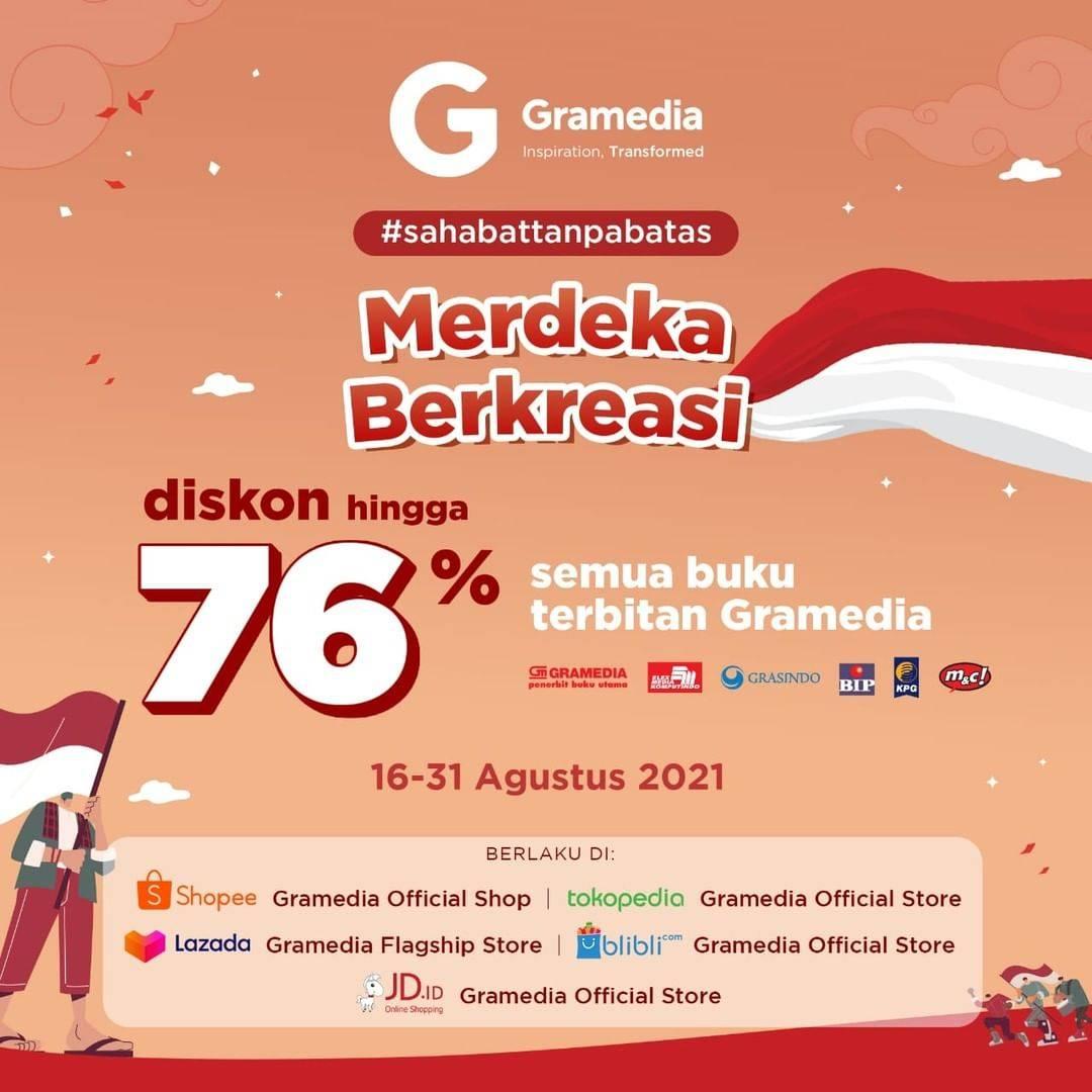 Diskon Gramedia Promo Merdeka Berkreasi Diskon Hingga 76%