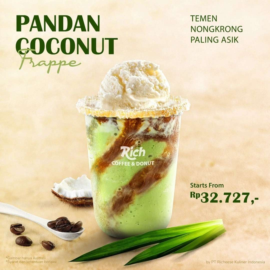 Diskon Richeese Factory Promo Pandan Coconut Frappe Mulai Rp. 32 Ribuan