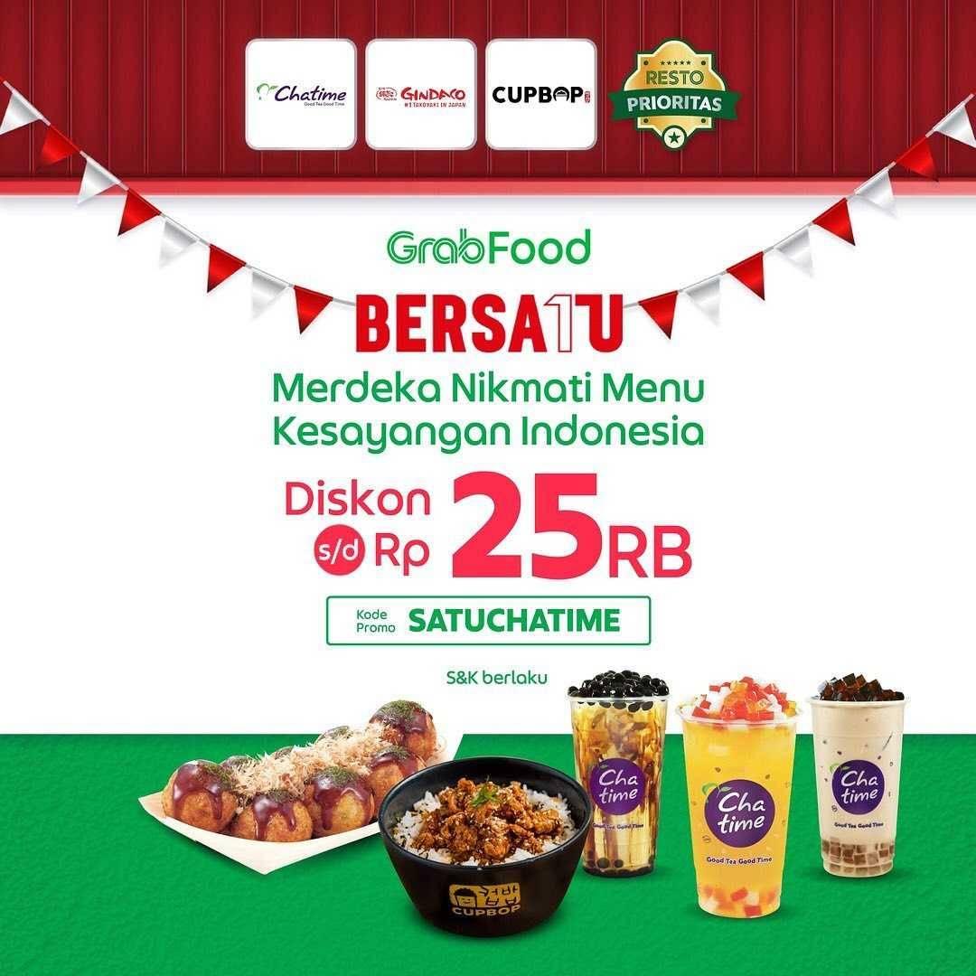 Promo diskon Chatime Diskon Rp. 25.000 Dengan GrabFood