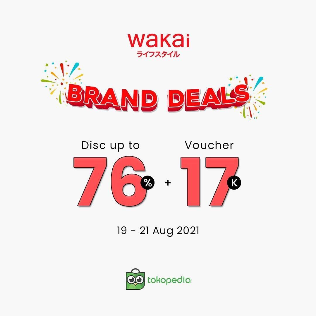 Diskon Wakai Brand Sale Discount Up To 76% Off + Voucher Rp. 17.000 On Tokopedia
