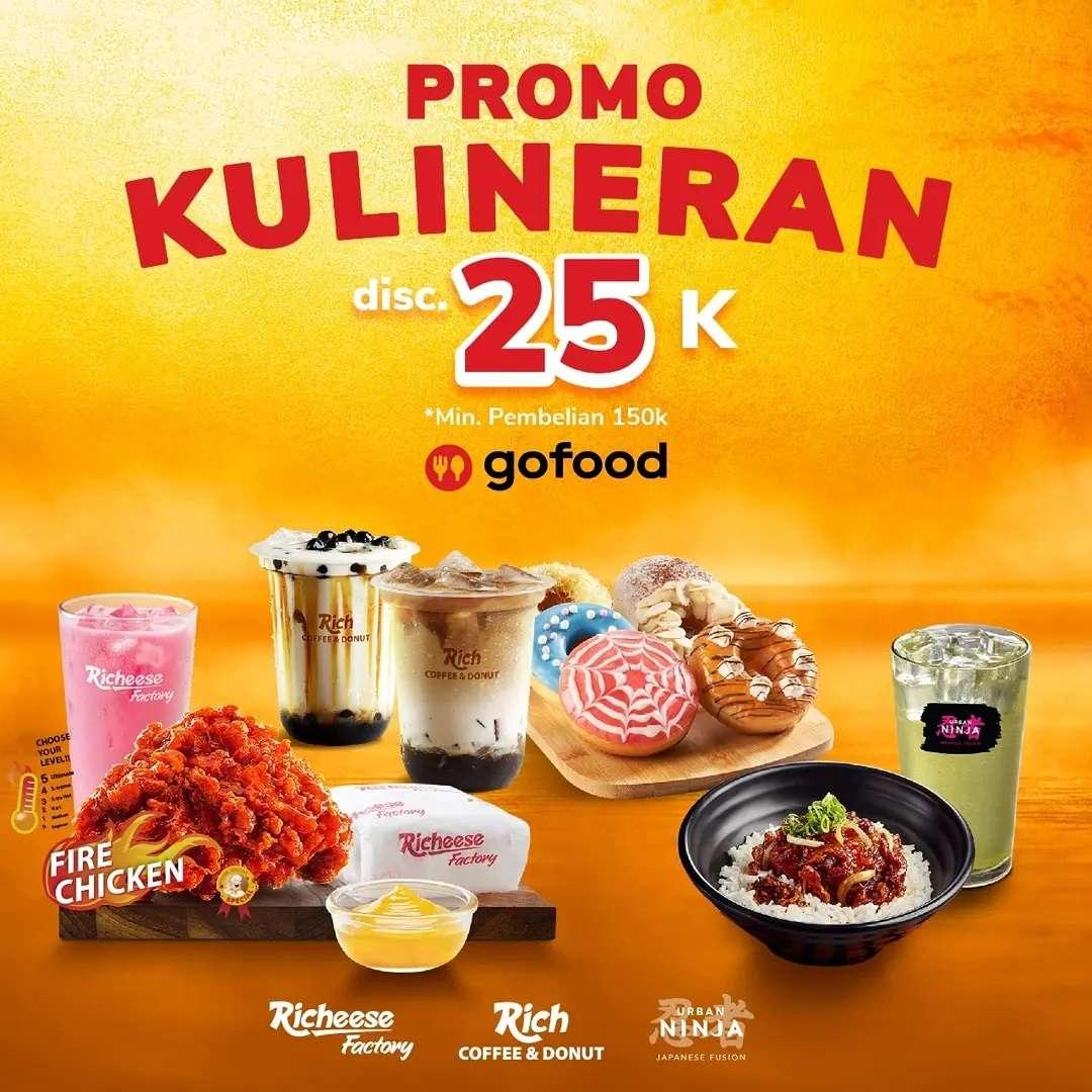 Diskon Richeese Factory Promo Kulineran Discount Rp. 25.000 Dengan GoFood