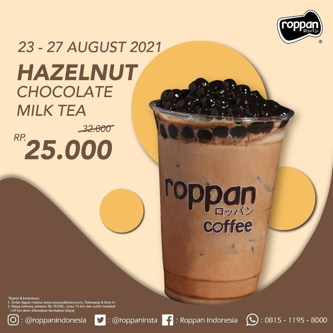 Diskon Roppan Promo Hazelnut Chocolate Milk tea Hanya Rp. 25.000