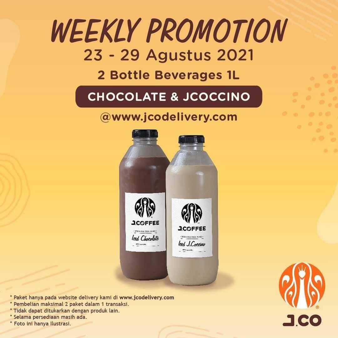 Promo diskon JCO Weekly Promotion 2 Bottle Beverages 1L Hanya Rp. 110.000