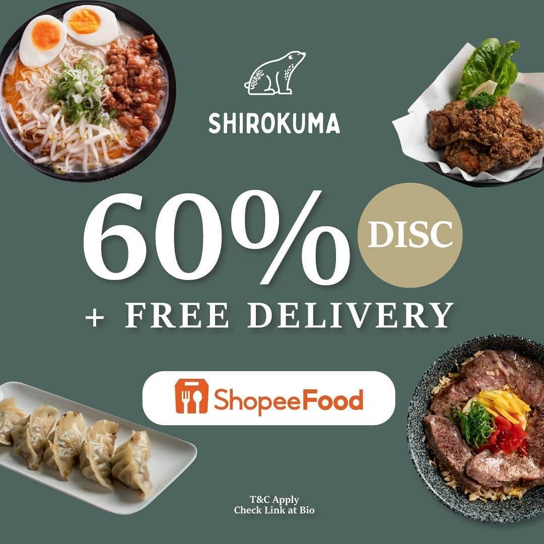 Diskon Shirokuma Discount 60% Off + Free Delivery Dengan ShopeeFood