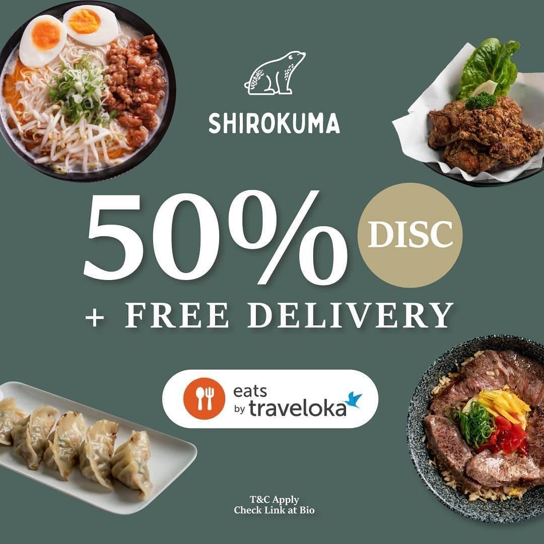 Diskon Shirokuma Discount 50% Off + Free Delivery Dengan Traveloka Eats