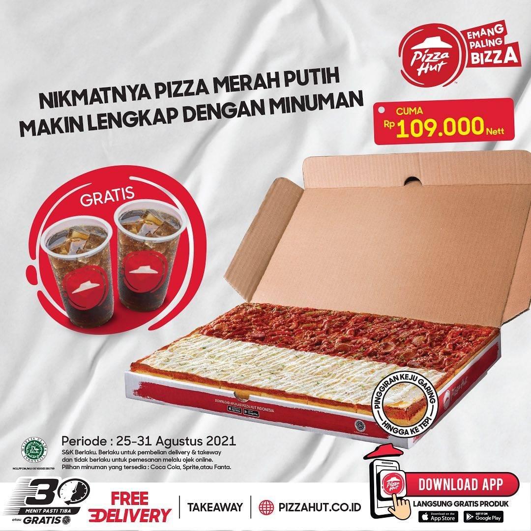 Diskon Pizza Hut Beli Pizza Merah Putih Gratis 2 Minuman