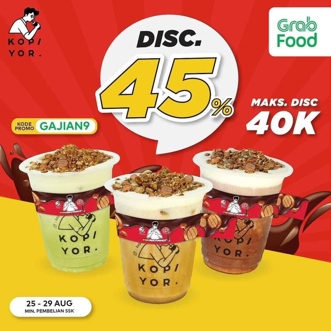 Promo diskon Kopi Yor Discount 45% Off Dengan Grabfood