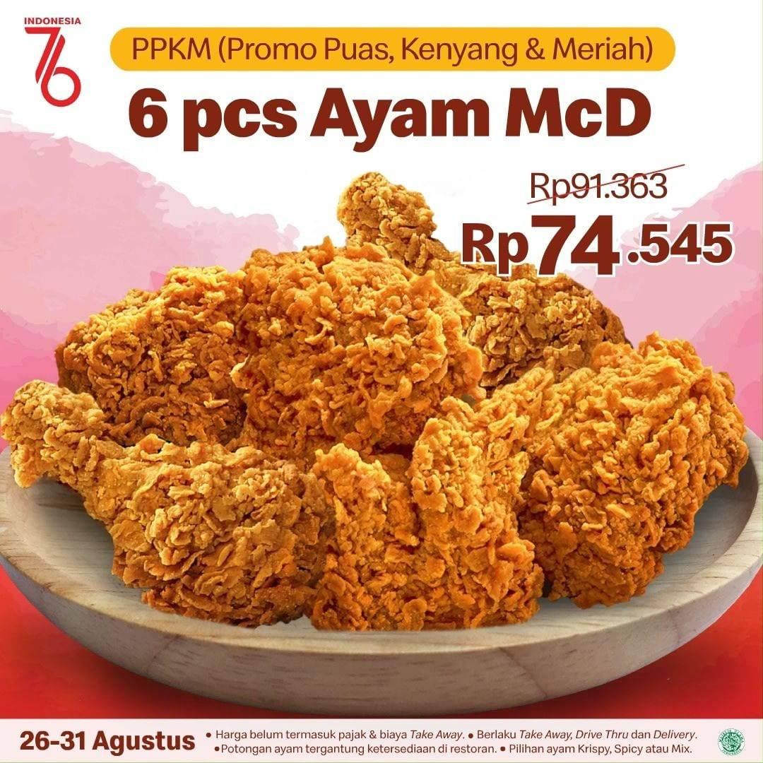 Diskon McDonalds Promo PPKM 6 pcs Ayam Hanya Rp. 74 Ribuan