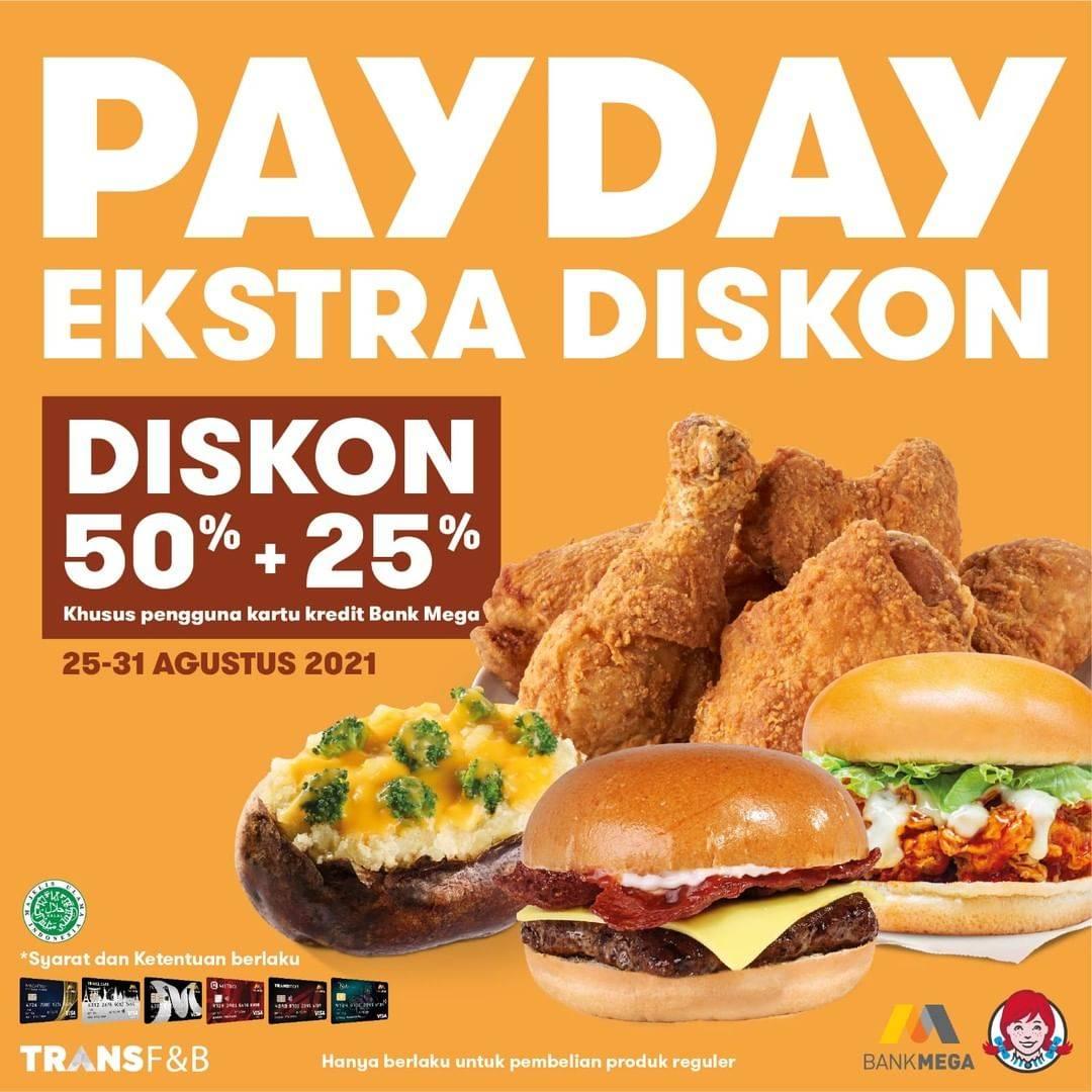 Diskon Wendys Promo Payday Diskon 50% + 25% Dengan Kartu Kredit Bank Mega