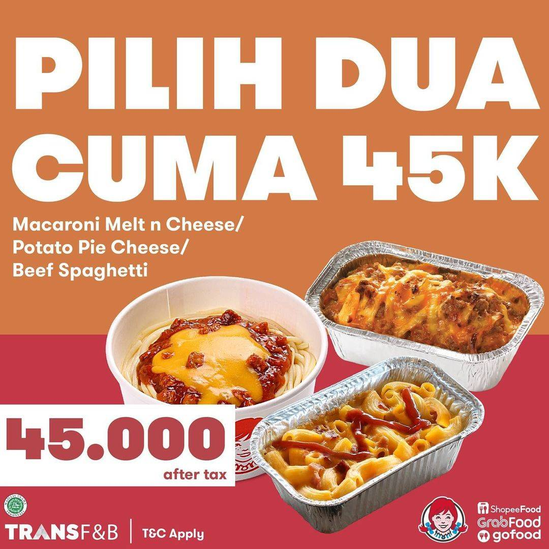 Diskon Wendys Promo Pilih 2 Cuma Hanya Rp. 45.000