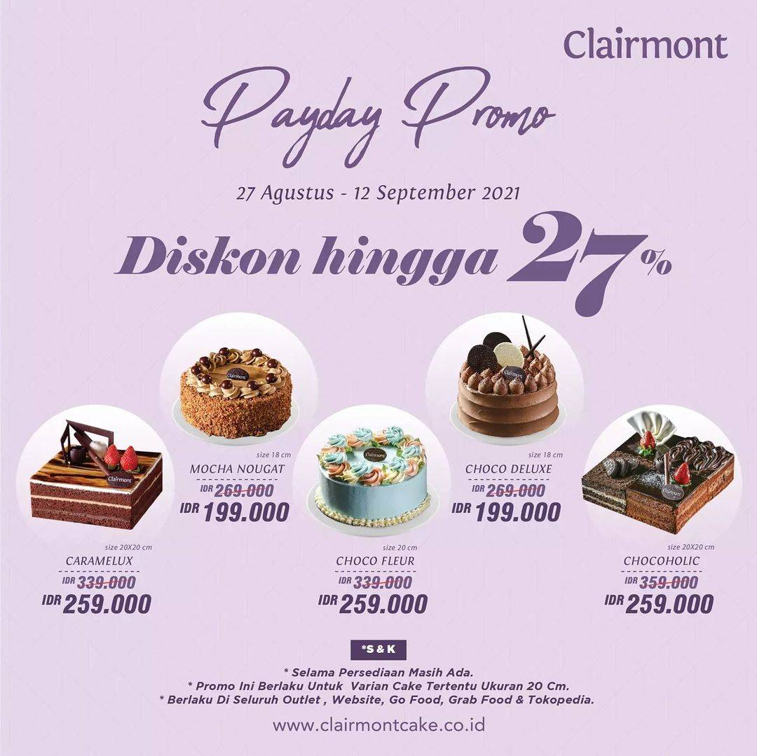 Diskon Clairmont Patisserie Payday Promo Diskon Hingga 27%