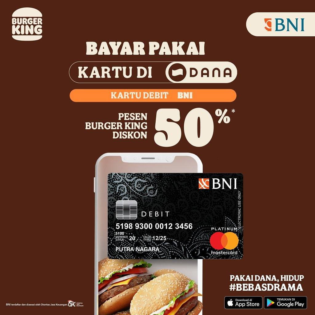 Diskon Burger King Diskon 50% Pembayaran Dengan Kartu Debit BNI atau Dana