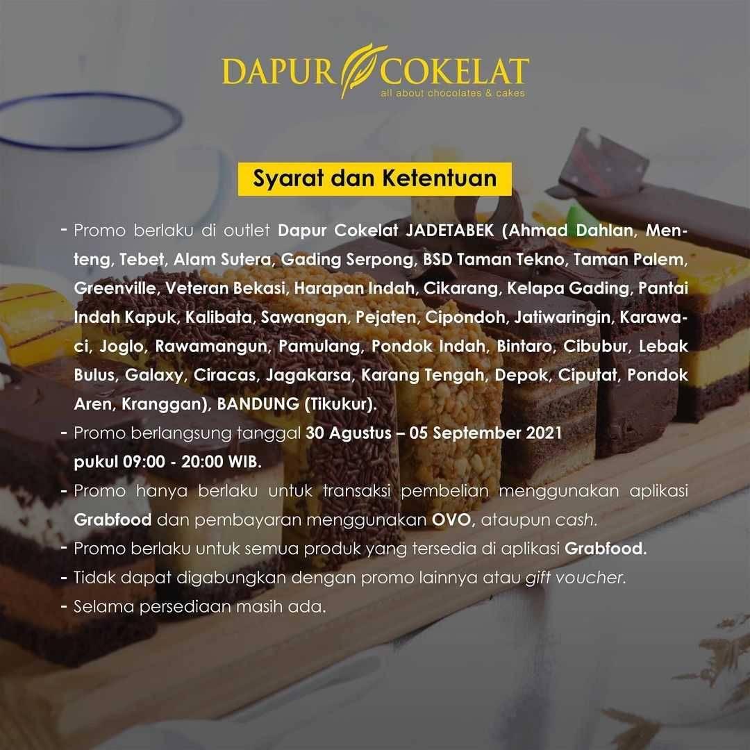 Promo diskon Dapur Cokelat Diskon Hingga Rp. 40.000 Dengan GrabFood