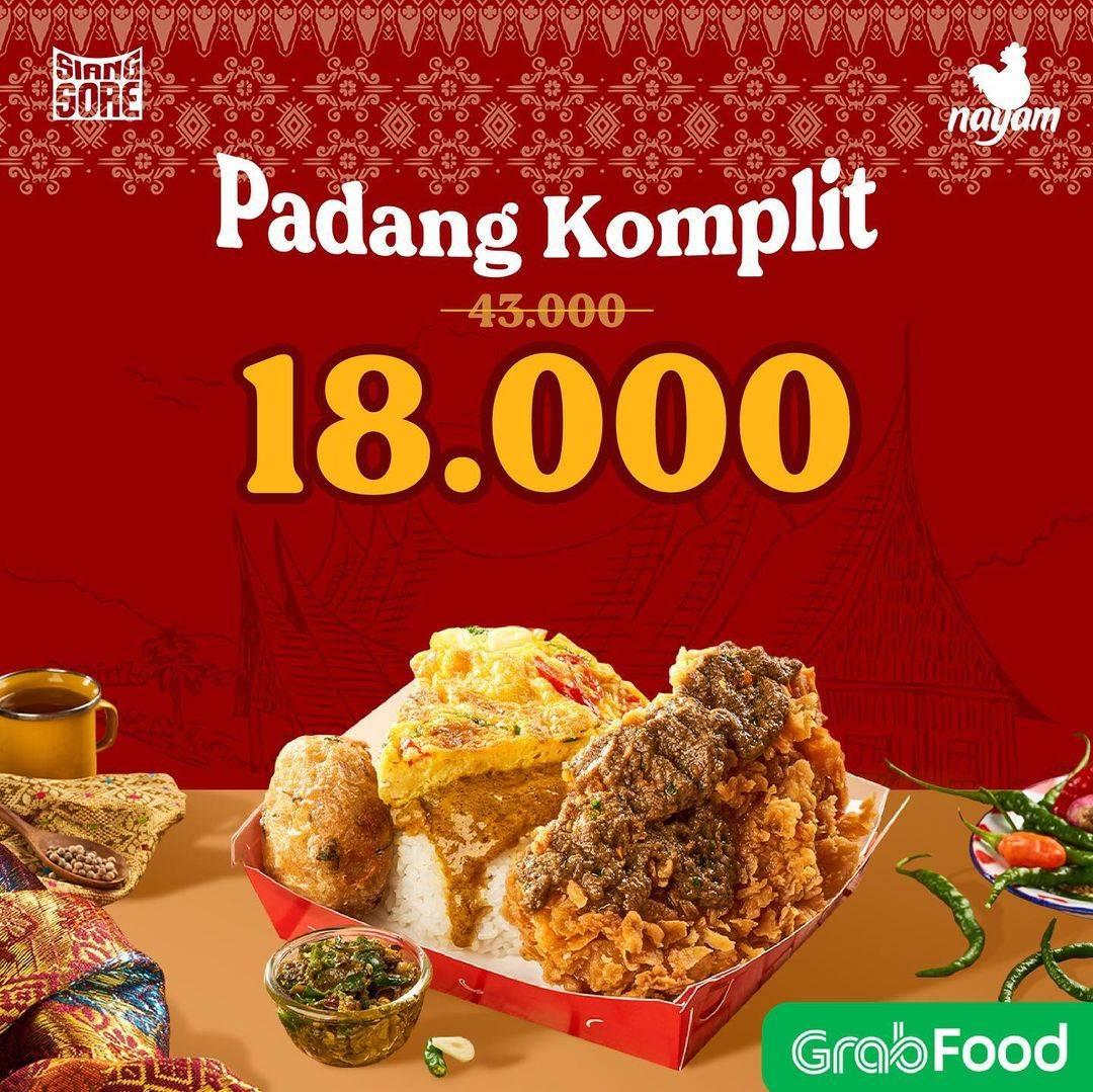 Diskon Nayam Promo Padang Komplit Hanya Rp. 18.000 Dengan GrabFood