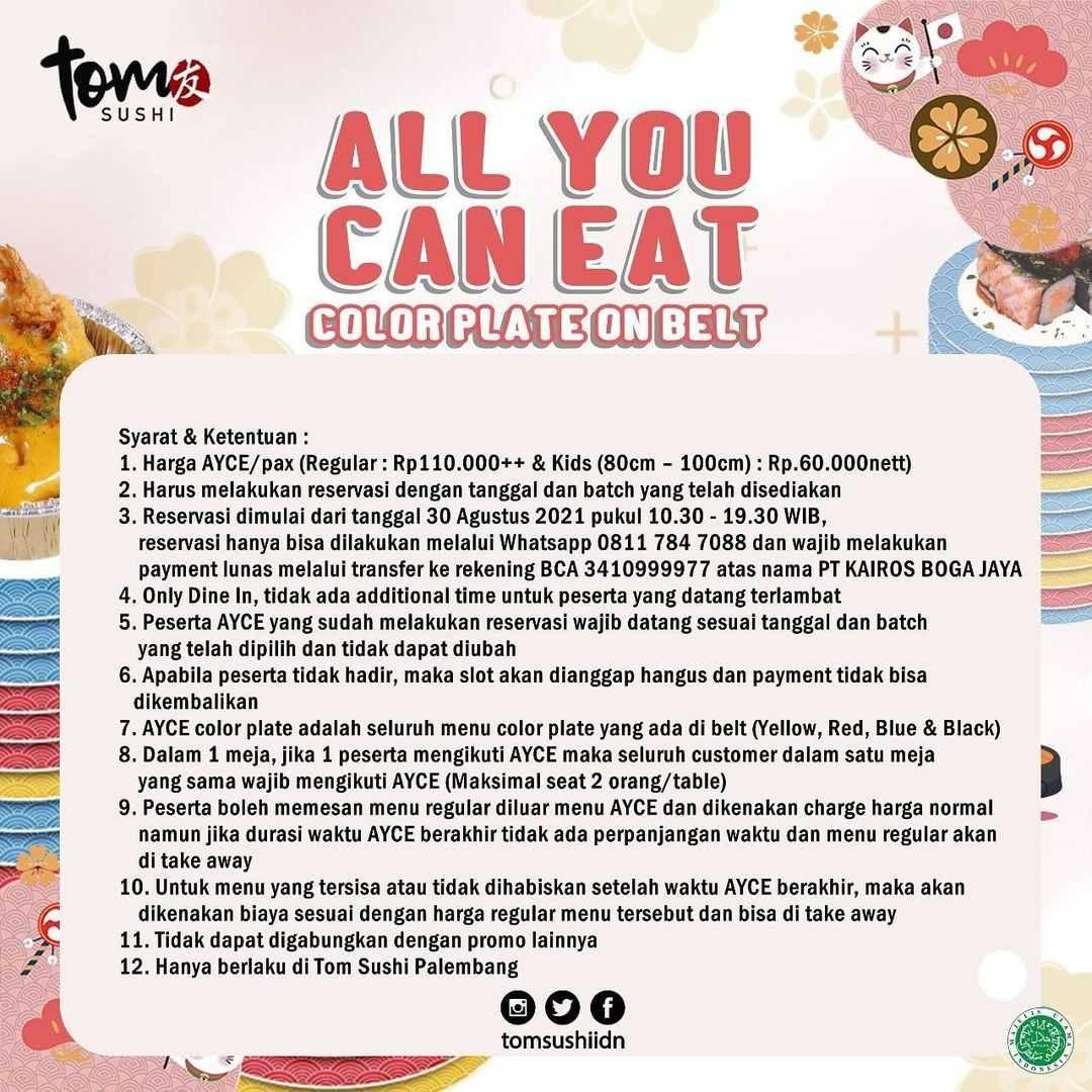 Promo diskon Tom Sushi Promo All You Can Eat Hanya Rp. 110.000++