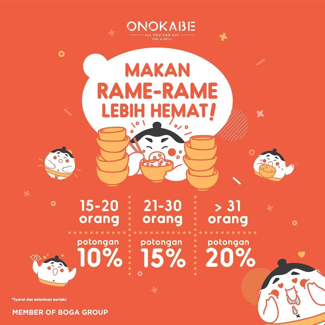 ONOKABE Promo MAKAN RAME-RAME LEBIH HEMAT! DISKON hingga 20%