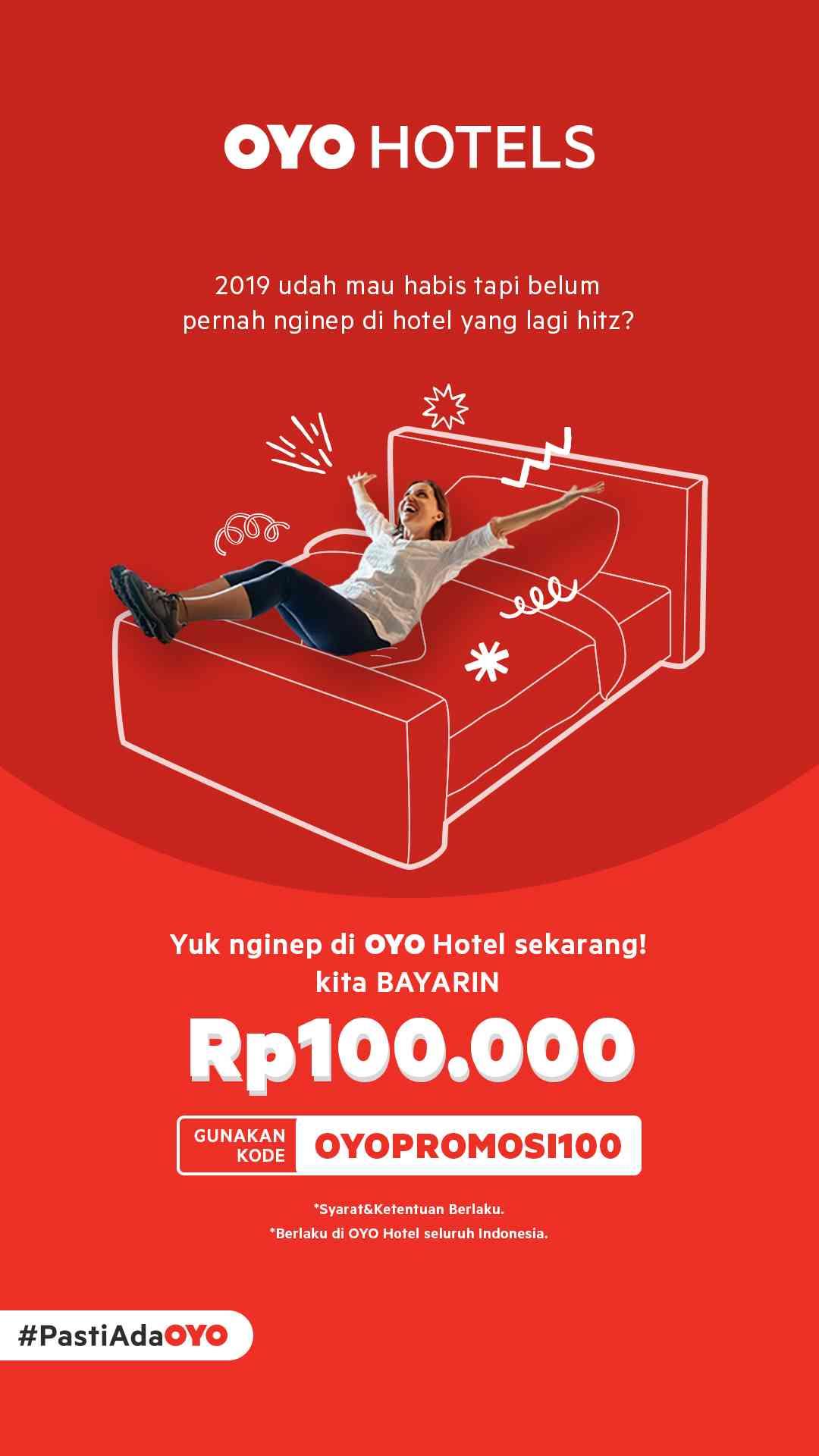 Nginap di OYO HOTELS di bayarin Rp. 100.000