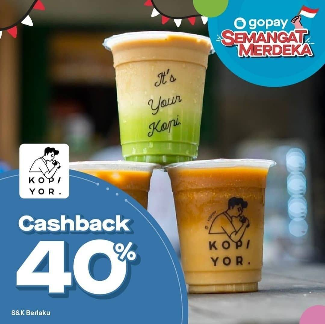 Diskon Kopiyor Promo Semangat Merdeka  Cashback 40% dengan GOPAY