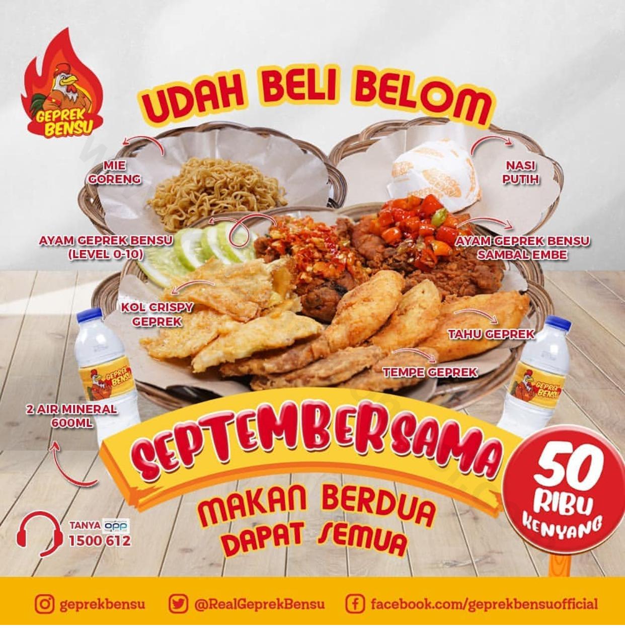 Geprek Bensu Promo Septembersama Makan Berdua hanya Rp. 50.000