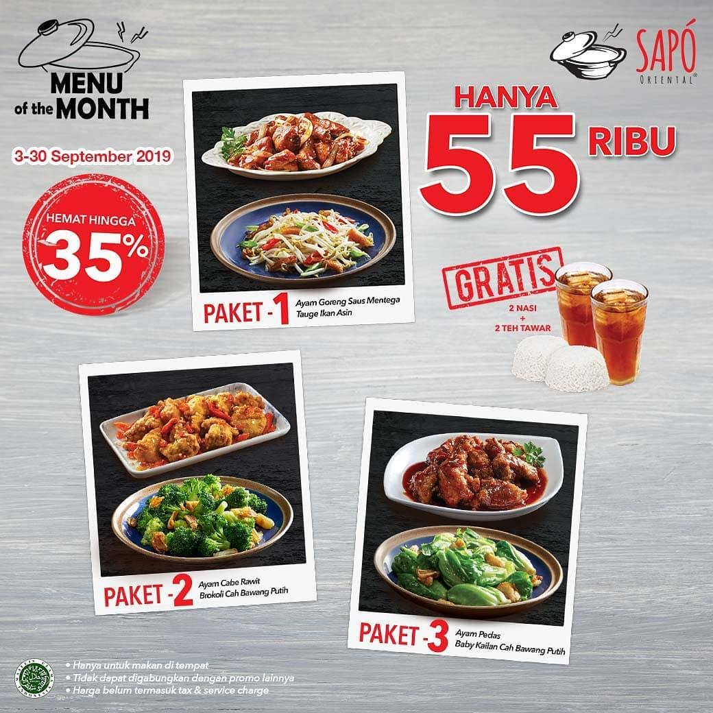 Sapo Oriental Promo Menu of the Month Hemat Hingga 35%